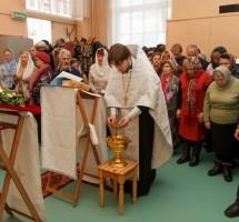 Чин великого освящения воды в храме преподобного Сергия Радонежского на РКК «Энергия»