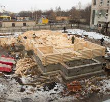 Ход работ по строительству храма на РКК «Энергия» (9 марта 2016 г.)
